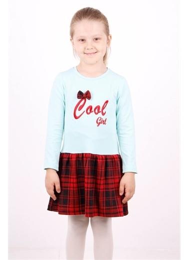 Toontoy Kids Toontoy Kız Çocuk Cool Yazı Nakışlı Elbise Renkli